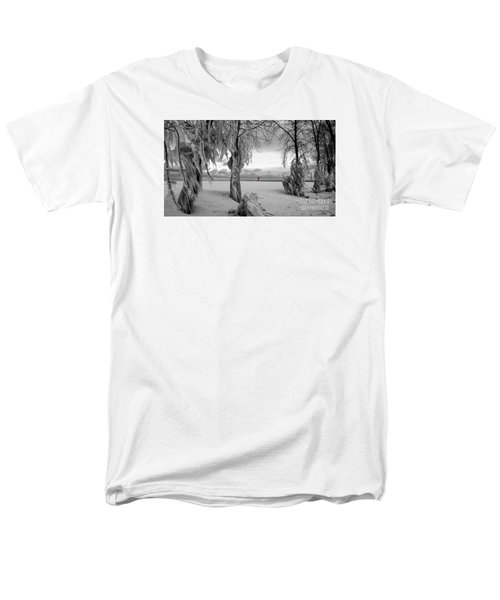 Men's T-Shirt  (Regular Fit) featuring the photograph Frozen Landscape Of The Menominee North Pier Lighthouse by Mark J Seefeldt