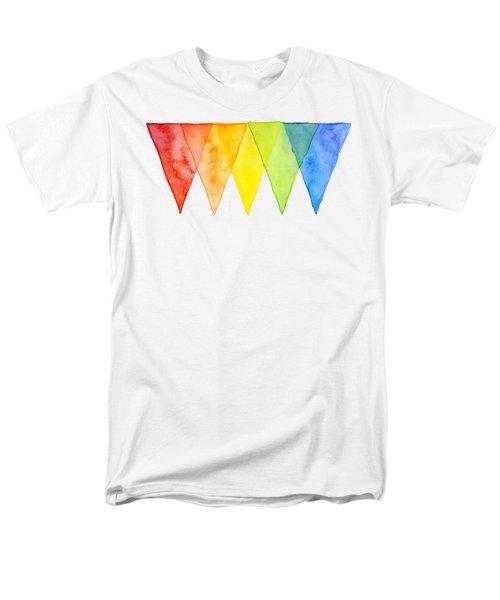 Geometric Watercolor Pattern Rainbow Triangles Men's T-Shirt  (Regular Fit) by Olga Shvartsur