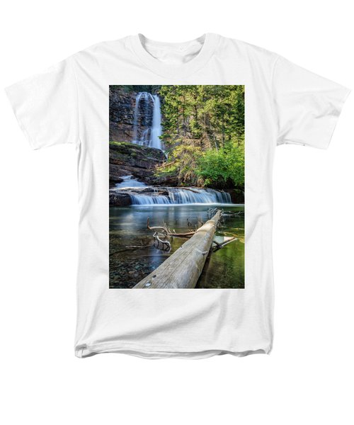 Glacier National Park Waterfall 3 Men's T-Shirt  (Regular Fit) by Andres Leon