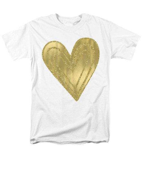 Gold Glam Heart Men's T-Shirt  (Regular Fit) by P S