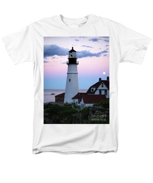 Men's T-Shirt  (Regular Fit) featuring the photograph Goodnight Moon, Goodnight Lighthouse  -98588 by John Bald