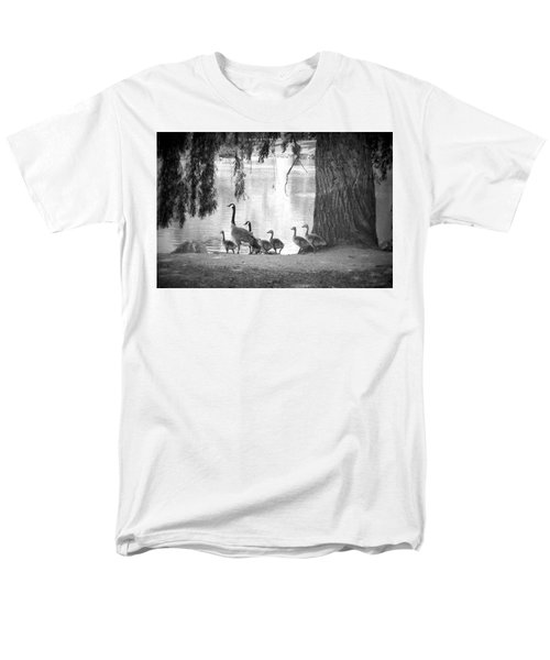 Men's T-Shirt  (Regular Fit) featuring the photograph Goslings Bw7 by Clarice Lakota