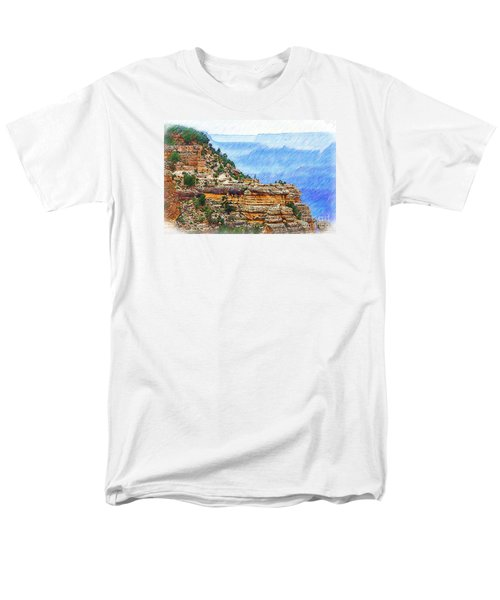 Men's T-Shirt  (Regular Fit) featuring the digital art Grand Canyon Overlook Sketched by Kirt Tisdale