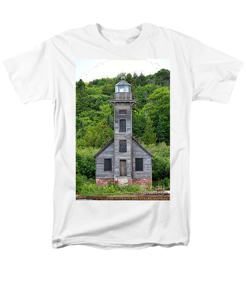 Men's T-Shirt  (Regular Fit) featuring the photograph Grand Island East Channel Lighthouse #6672 by Mark J Seefeldt