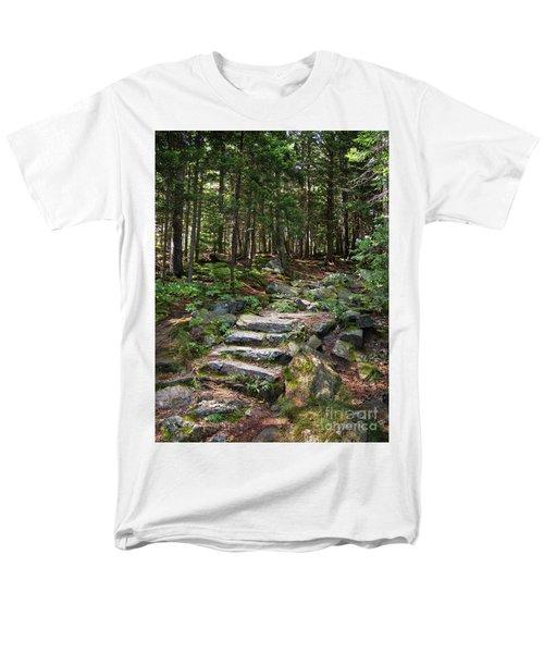 Men's T-Shirt  (Regular Fit) featuring the photograph Granite Steps, Camden Hills State Park, Camden, Maine -43933 by John Bald