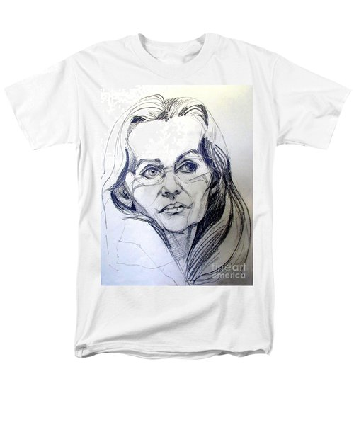 Men's T-Shirt  (Regular Fit) featuring the drawing Graphite Portrait Sketch Of A Woman With Glasses by Greta Corens