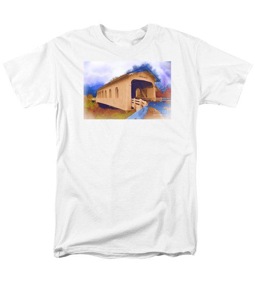 Men's T-Shirt  (Regular Fit) featuring the digital art Grave Creek Covered Bridge In Watercolor by Kirt Tisdale