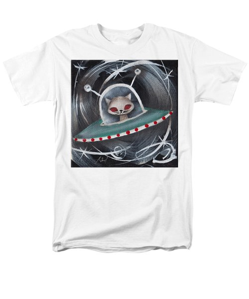 Gray Space Cat Men's T-Shirt  (Regular Fit) by Abril Andrade Griffith