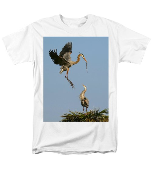 Men's T-Shirt  (Regular Fit) featuring the photograph Great Blue Heron Dropping In by Myrna Bradshaw