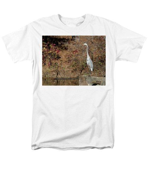 Great Blue Heron Standing Tall Men's T-Shirt  (Regular Fit) by George Randy Bass