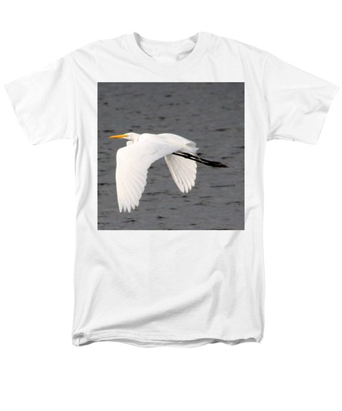 Great White Egret In Flight Men's T-Shirt  (Regular Fit) by Laurel Talabere