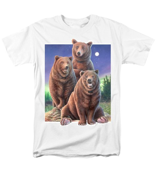 Grizzly Bears In Starry Night Men's T-Shirt  (Regular Fit) by Hans Droog