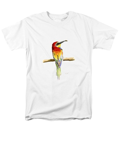 Men's T-Shirt  (Regular Fit) featuring the painting Gruccione  - Bee Eater - Merops Apiaster by Raffaella Lunelli