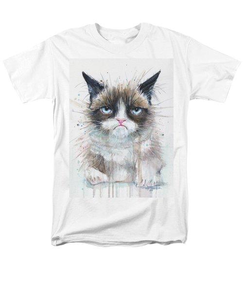 Grumpy Cat Watercolor Painting  Men's T-Shirt  (Regular Fit) by Olga Shvartsur