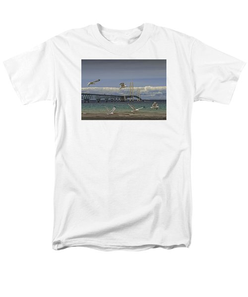 Gulls Flying By The Bridge At The Straits Of Mackinac Men's T-Shirt  (Regular Fit) by Randall Nyhof