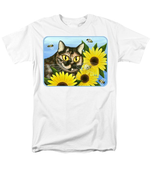 Men's T-Shirt  (Regular Fit) featuring the painting Hannah Tortoiseshell Cat Sunflowers by Carrie Hawks