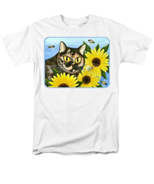 Hannah Tortoiseshell Cat Sunflowers Men's T-Shirt  (Regular Fit) by Carrie Hawks