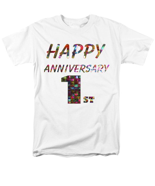 Happy First 1st Anniversary Celebrations Design On Greeting Cards T-shirts Pillows Curtains Phone   Men's T-Shirt  (Regular Fit) by Navin Joshi