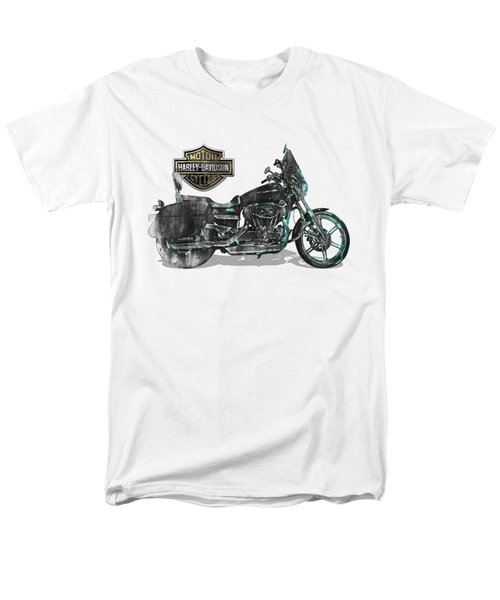 Men's T-Shirt  (Regular Fit) featuring the digital art Harley-davidson Motorcycle With 3d Badge Over Vintage Patent by Serge Averbukh