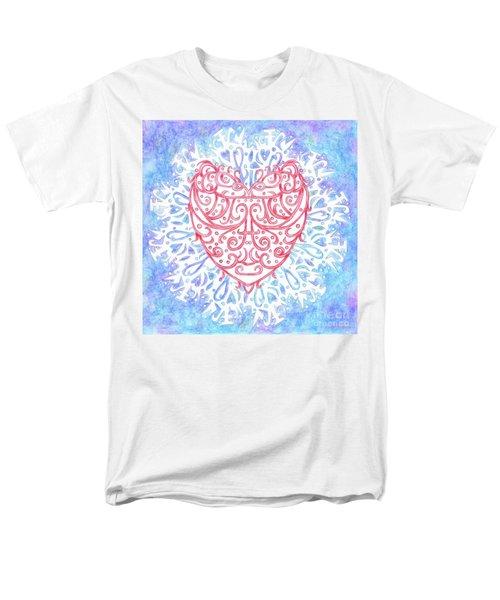Heart In A Snowflake II Men's T-Shirt  (Regular Fit) by Lise Winne