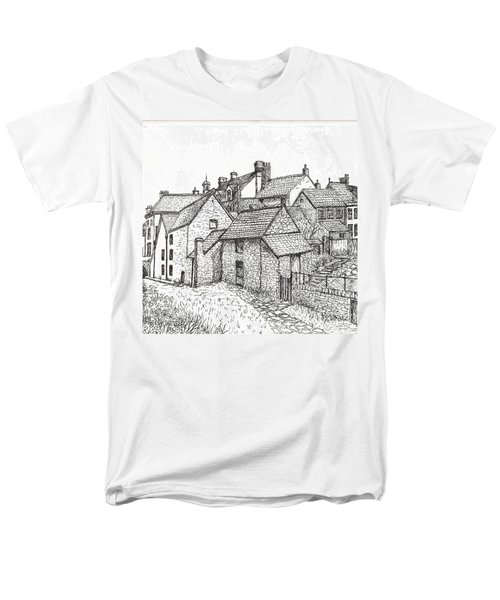 Men's T-Shirt  (Regular Fit) featuring the drawing Hemsley Village - In Yorkshire England  by Carol Wisniewski