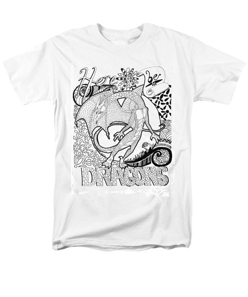 Men's T-Shirt  (Regular Fit) featuring the drawing Here Be Dragons by Wendy Coulson