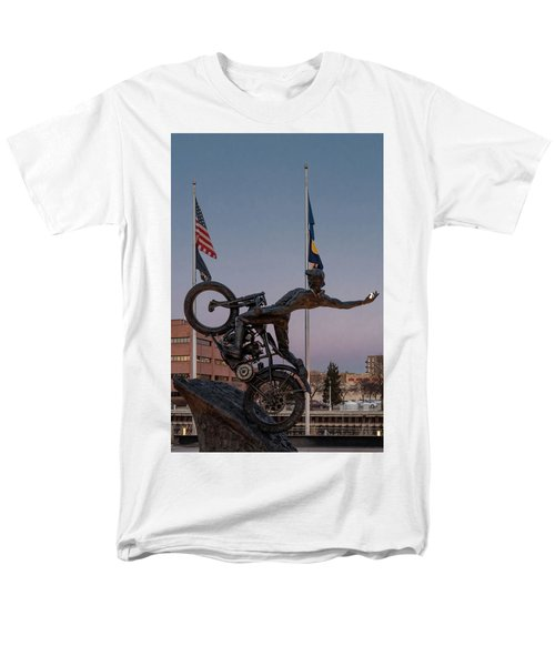 Men's T-Shirt  (Regular Fit) featuring the photograph Hill Climber Catches The Moon by Randy Scherkenbach