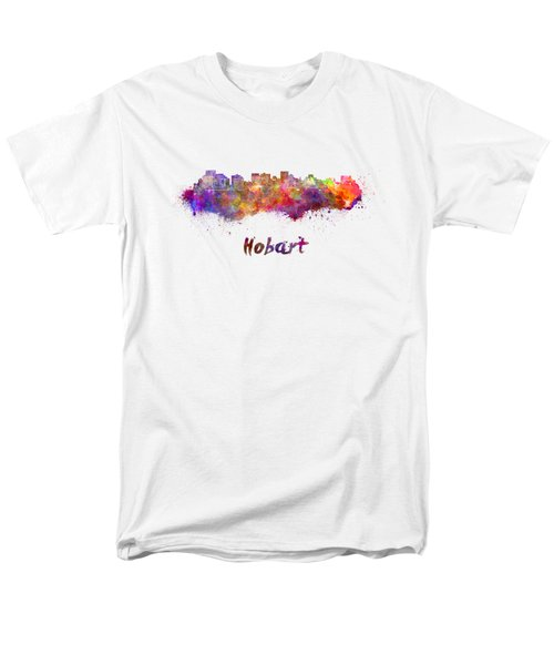 Hobart Skyline In Watercolor Men's T-Shirt  (Regular Fit) by Pablo Romero