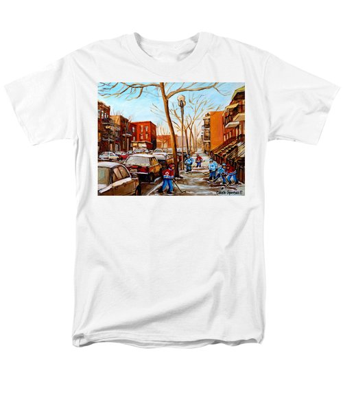 Men's T-Shirt  (Regular Fit) featuring the painting Hockey On St Urbain Street by Carole Spandau