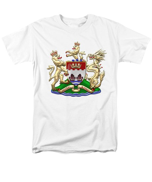 Hong Kong - 1959-1997 Coat Of Arms Over White Leather  Men's T-Shirt  (Regular Fit) by Serge Averbukh