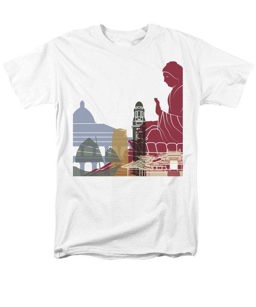 Hong Kong Skyline Poster Men's T-Shirt  (Regular Fit) by Pablo Romero