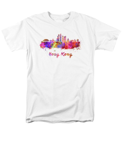 Hong Kong V2 Skyline In Watercolor Men's T-Shirt  (Regular Fit) by Pablo Romero