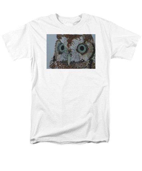 Hooty Who? - Screech Owl Detail Men's T-Shirt  (Regular Fit) by Anita Putman