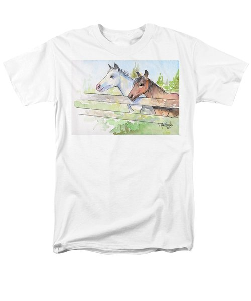 Horses Watercolor Sketch Men's T-Shirt  (Regular Fit) by Olga Shvartsur