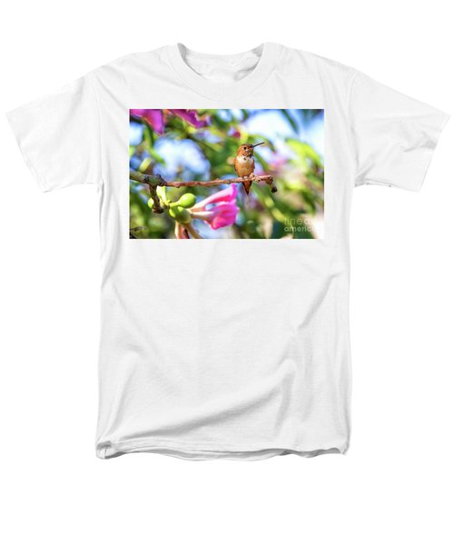 Humming Bird Pink Flowers Men's T-Shirt  (Regular Fit) by Stephanie Hayes