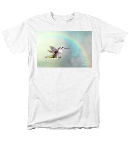 Men's T-Shirt  (Regular Fit) featuring the photograph Hummingbird Under Rainbow by Bonnie Barry