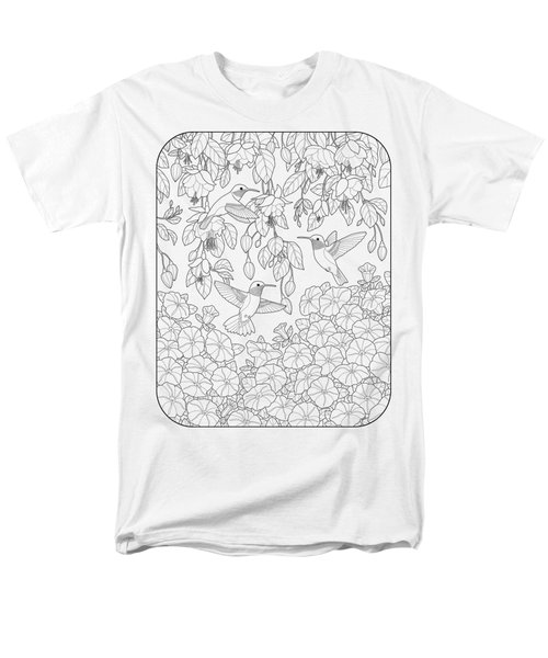 Hummingbirds And Flowers Coloring Page Men's T-Shirt  (Regular Fit) by Crista Forest