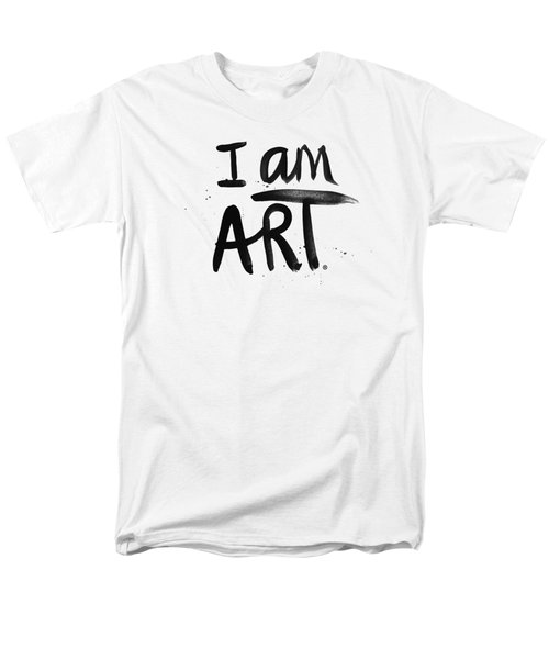 Men's T-Shirt  (Regular Fit) featuring the mixed media I Am Art Black Ink - Art By Linda Woods by Linda Woods
