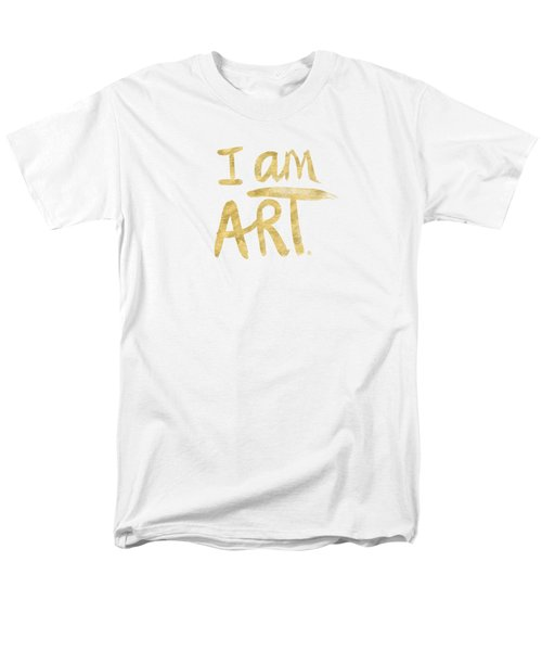 Men's T-Shirt  (Regular Fit) featuring the painting I Am Art Gold - Art By Linda Woods by Linda Woods