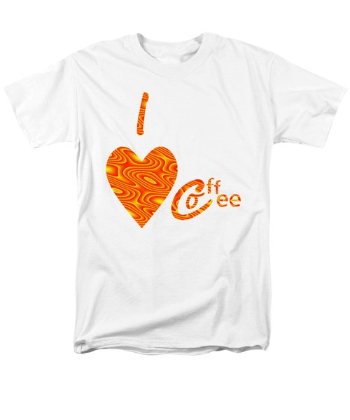 I Love Coffee Peach And Yellow Men's T-Shirt  (Regular Fit) by Kathleen Sartoris