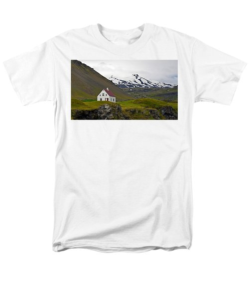 Men's T-Shirt  (Regular Fit) featuring the photograph Iceland House And Glacier by Joe Bonita