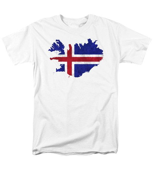Iceland Map Art With Flag Design Men's T-Shirt  (Regular Fit) by World Art Prints And Designs