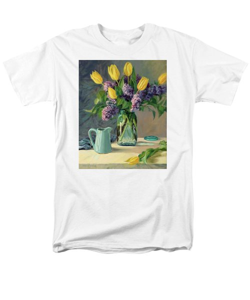 Ideal - Yellow Tulips And Lilacs In A Blue Mason Jar Men's T-Shirt  (Regular Fit) by Bonnie Mason