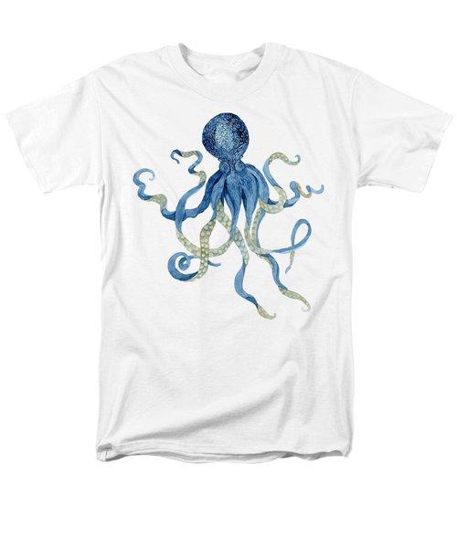 Indigo Ocean Blue Octopus  Men's T-Shirt  (Regular Fit) by Audrey Jeanne Roberts