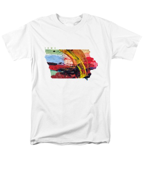 Iowa Map Art - Painted Map Of Iowa Men's T-Shirt  (Regular Fit) by World Art Prints And Designs