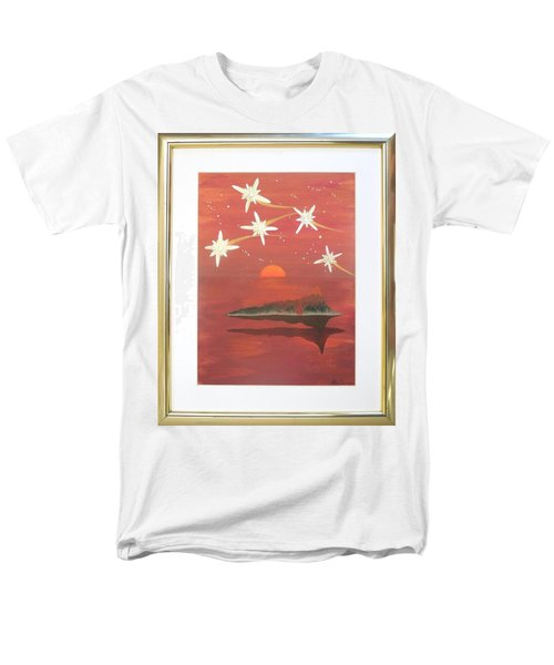 Men's T-Shirt  (Regular Fit) featuring the painting Island In The Sky With Diamonds by Ron Davidson