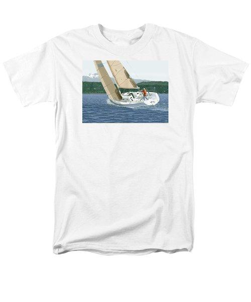 J-109 Sailboat Off Comox B.c. Men's T-Shirt  (Regular Fit) by Gary Giacomelli