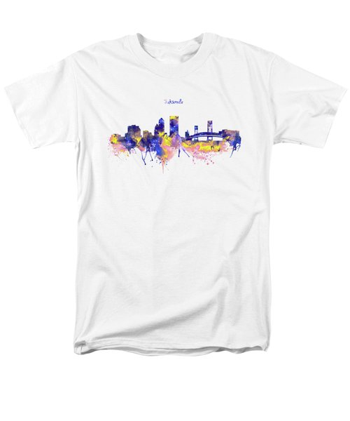 Jacksonville Skyline Silhouette Men's T-Shirt  (Regular Fit) by Marian Voicu