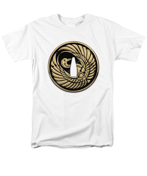 Japanese Katana Tsuba - Golden Crane On Black Steel Over White Leather Men's T-Shirt  (Regular Fit)