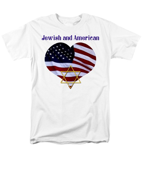 Jewish And American Flag With Star Of David Men's T-Shirt  (Regular Fit)